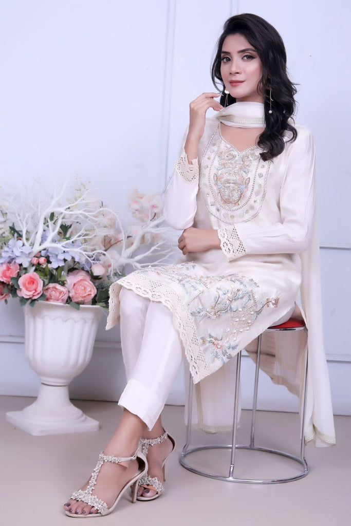 Ivory Diamante Embroidered Outfit