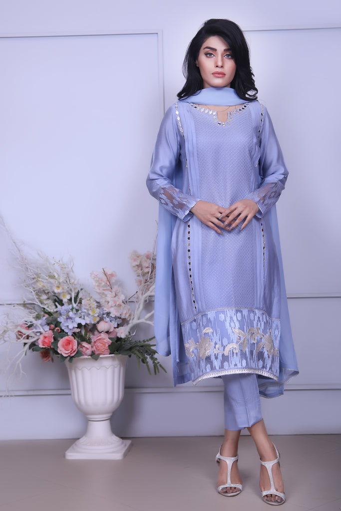 Blue Diamante Embroidered Outfit
