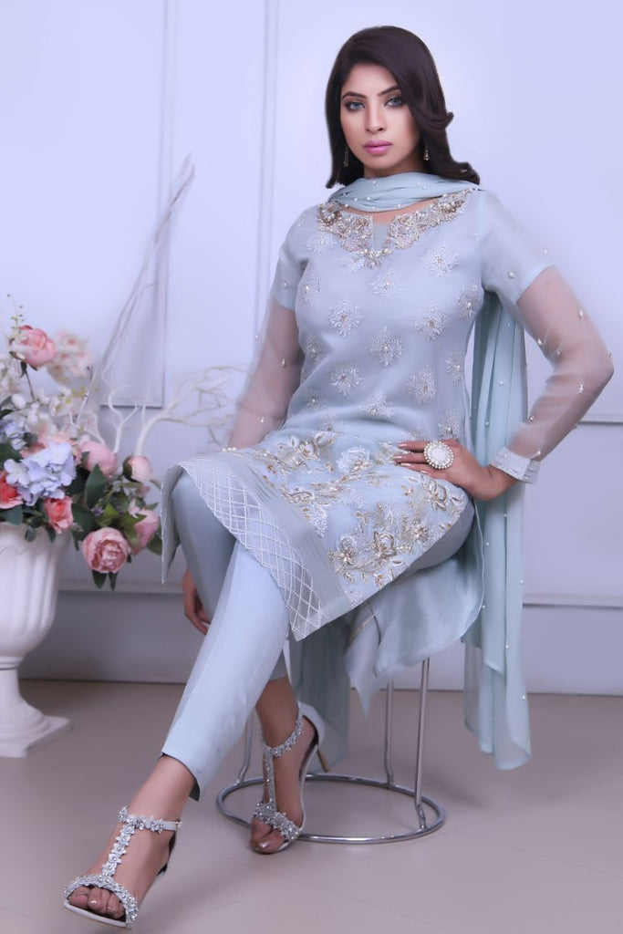 Mint Embroidered  Organza Outfit - Henna Mehndi