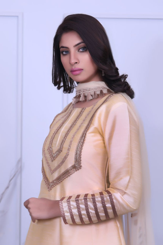 Gold Embroidered & Laser Raw Silk Outfit - Henna Mehndi
