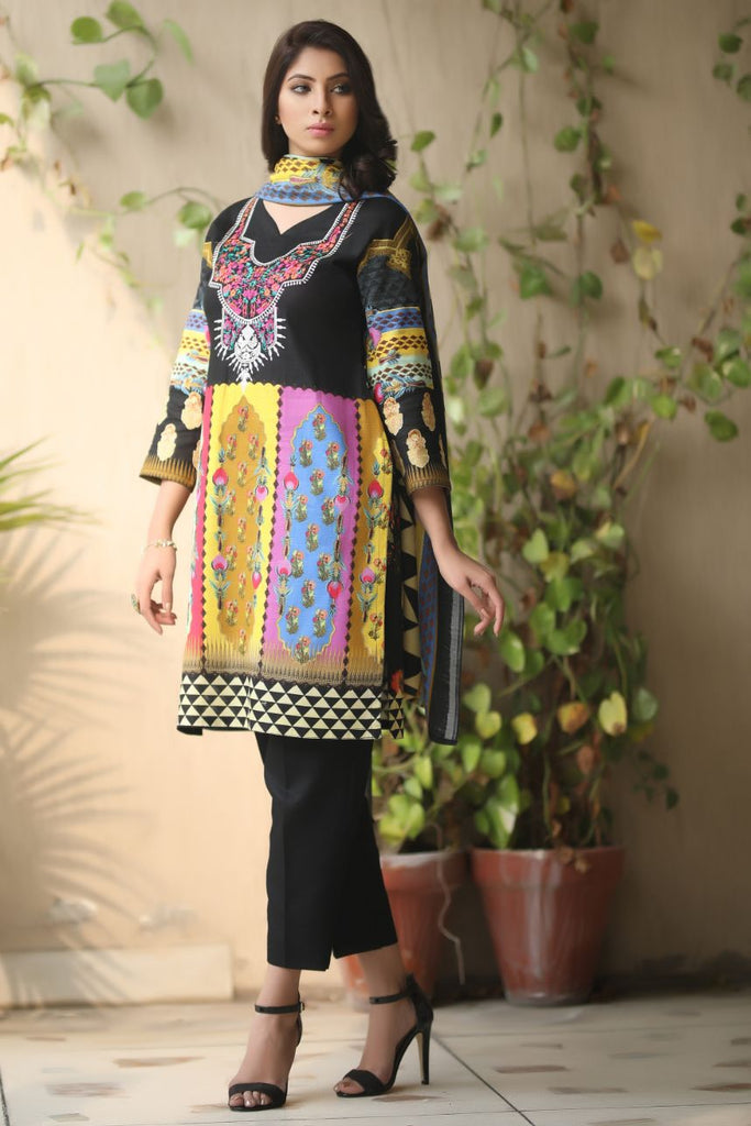 Black Embroidered & Printed Khaddar outfit