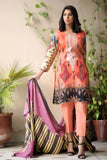 Peach Embroidered & Printed Khaddar Outfit