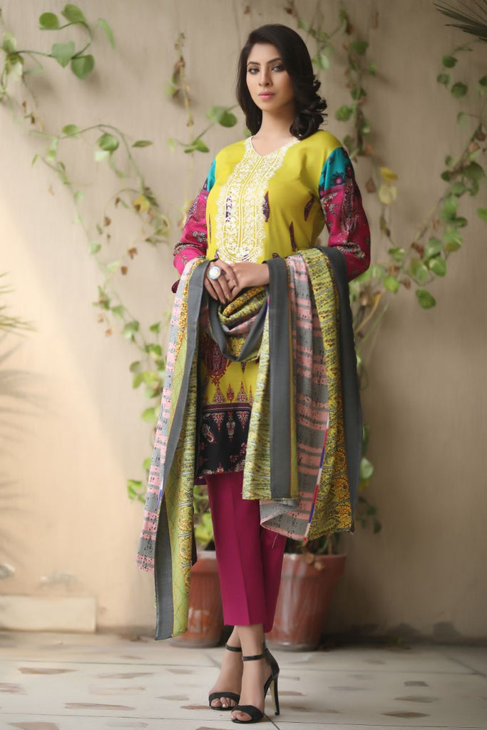 Yellow Embroidered & Printed Khaddar Outfit