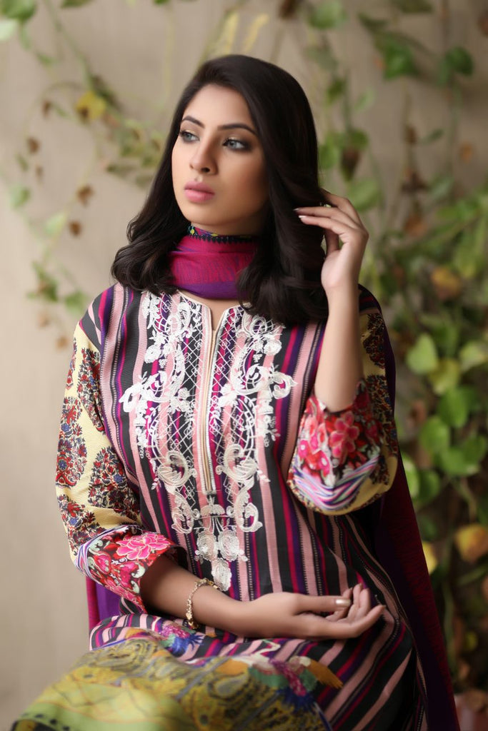 Plum Embroidered & Printed Khaddar Outfit