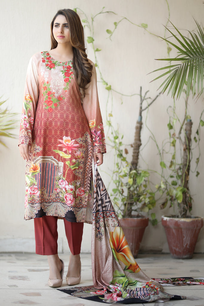 Brown Embroidered & Printed Linen Outfit