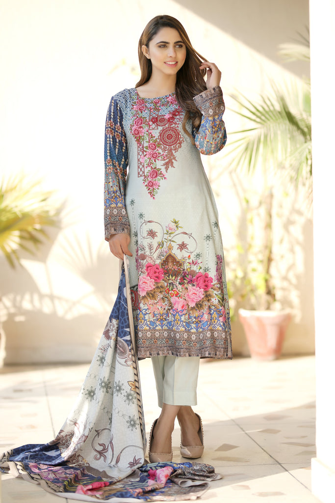 Grey Embroidered & Printed Twill Outfit - Henna Mehndi