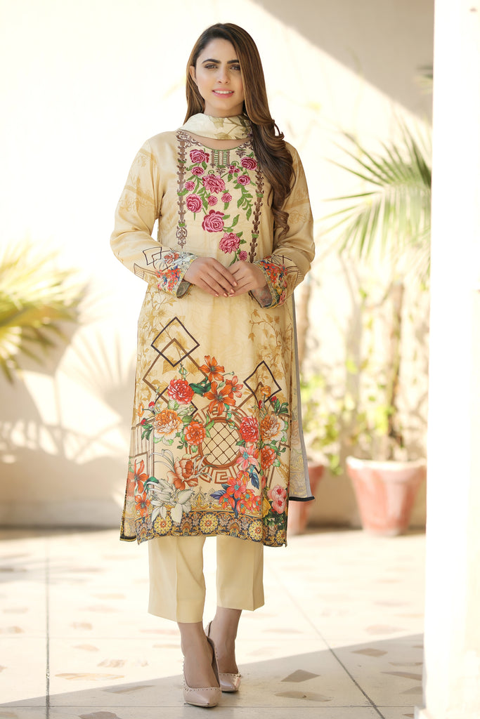 Yellow Embroidered & Printed Linen Outfit