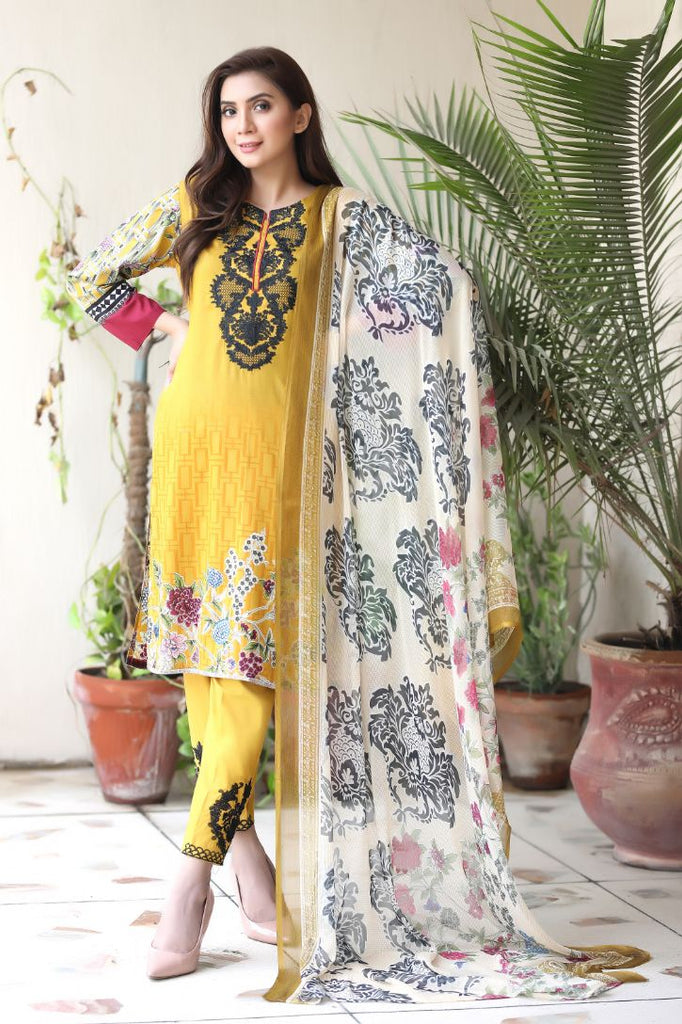 Yellow Embroidered & Printed Outfit