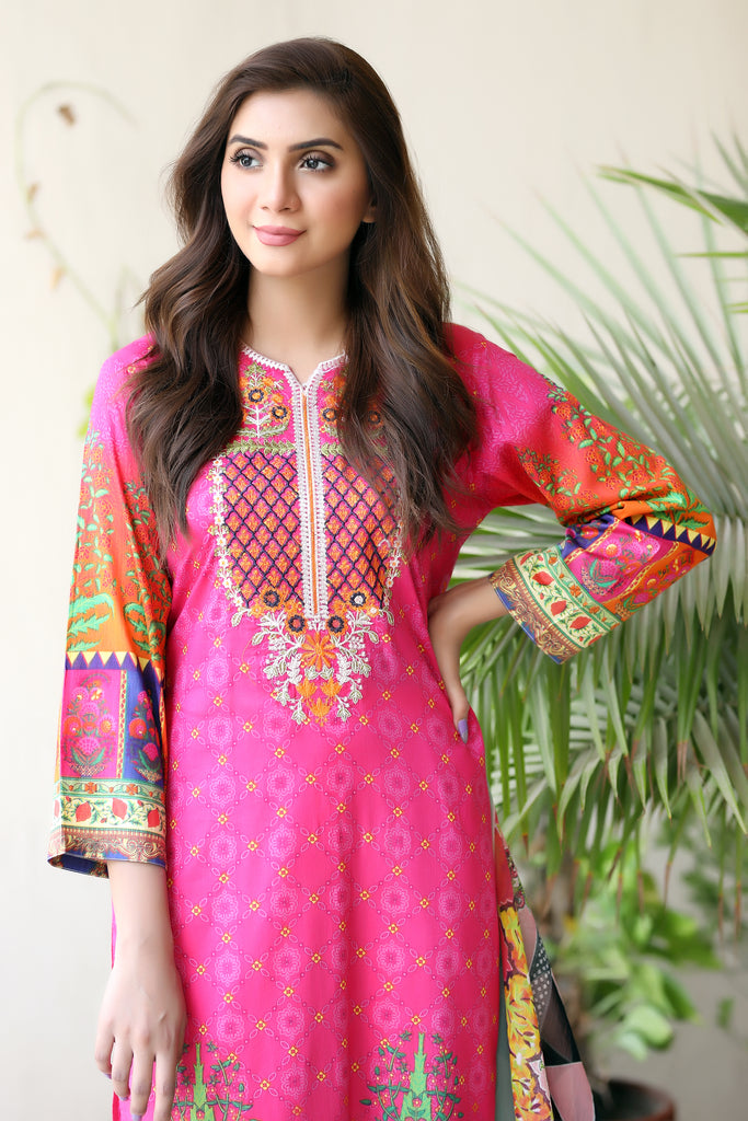 Fuchsia Embroidered & Printed Outfit
