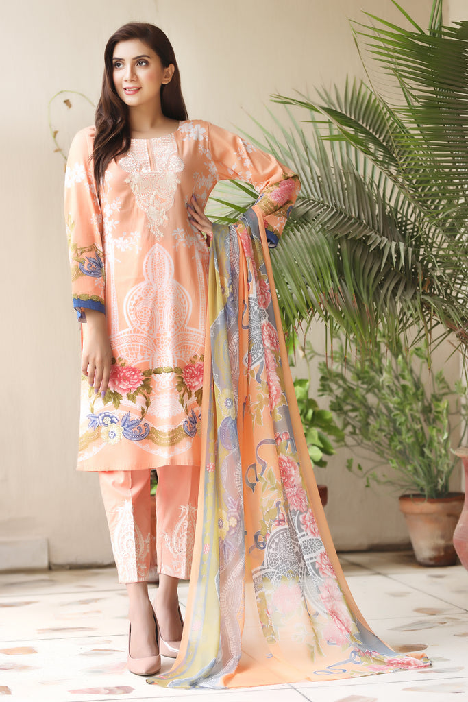 Peach Embroidered & Printed Outfit