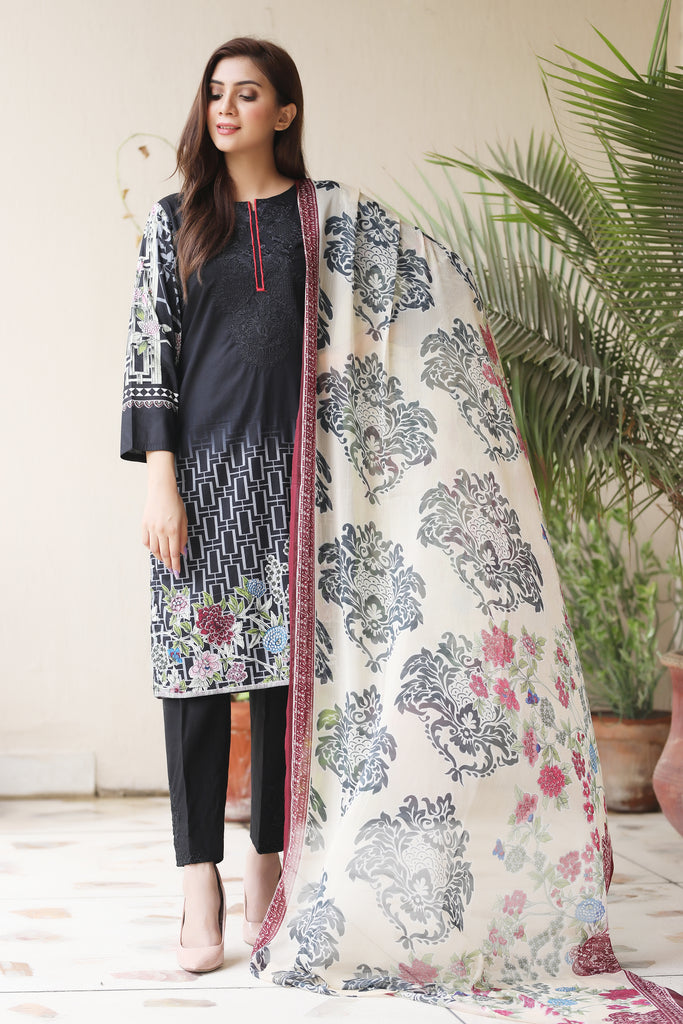 Black Embroidered & Printed Outfit