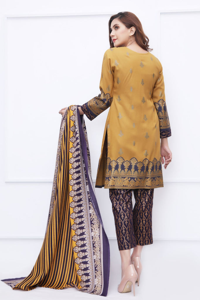 Mustard Embroidered & Printed Outfit