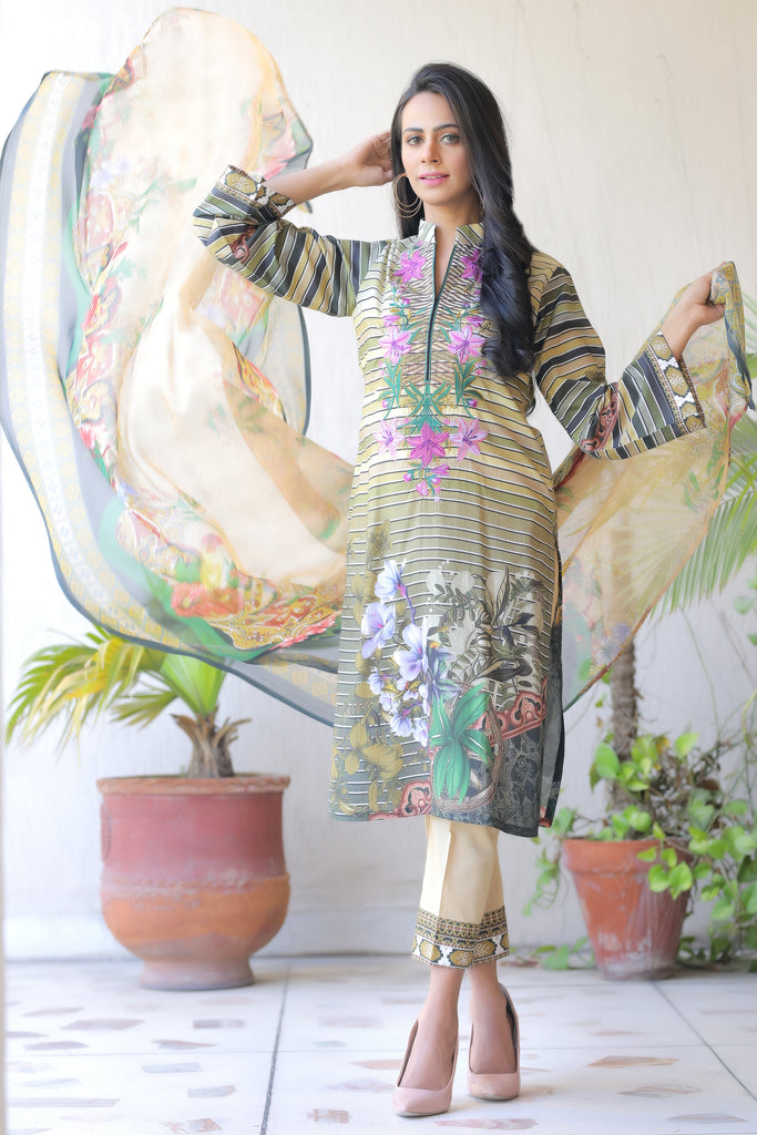 Beige Embroidered & Printed Outfit