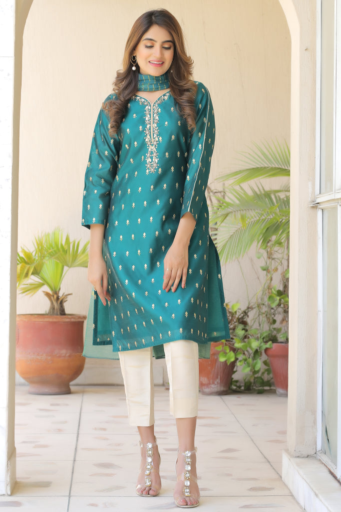 Sea Green Sequnnied Embroidered Oufit