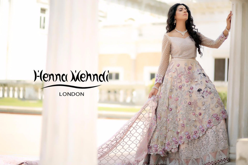 Light Pink Swarovski Crystal & Diamante Embroidered Bridal Outfit - Henna Mehndi