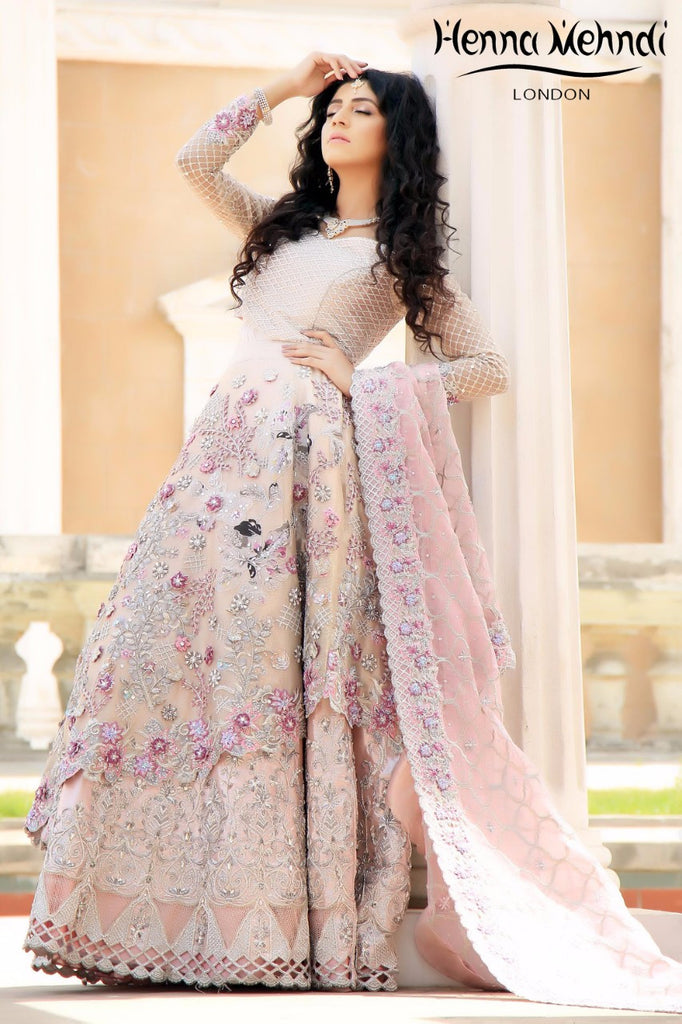 Light Pink Swarovski Crystal & Diamante Embroidered Bridal Outfit