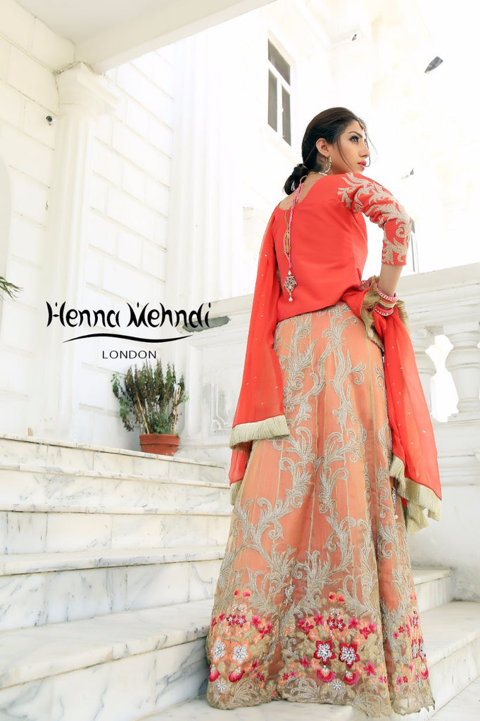 Gold & Coral Diamante Embroidered Lehnga Outfit