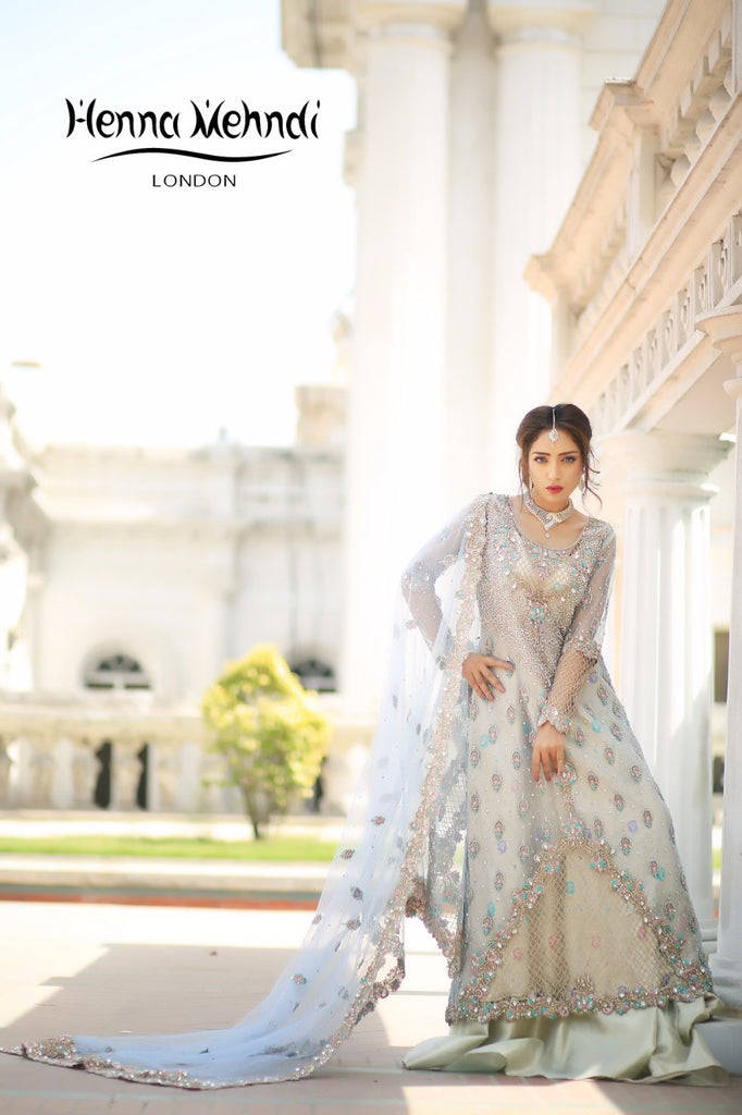 Ice Blue Diamante & Cutwork Embroidered Bridal Outfit