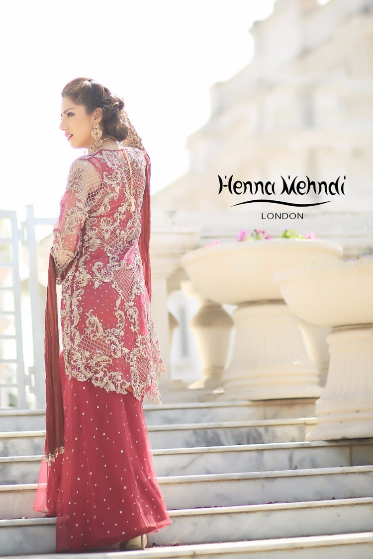 Maroon Diamante Embroidered Bridal Outfit