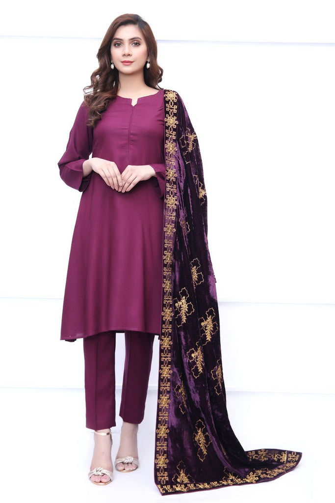 Purple Velvet Embroidered Shawl Outfit