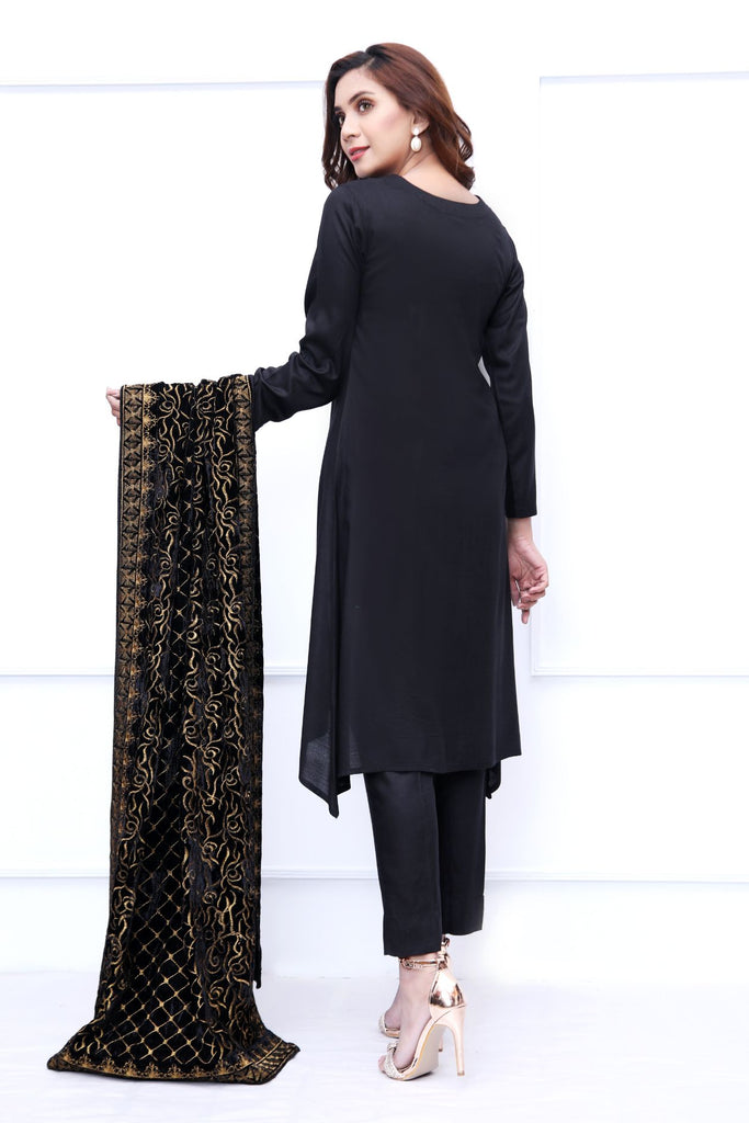 Black Velvet Embroidered Shawl Outfit