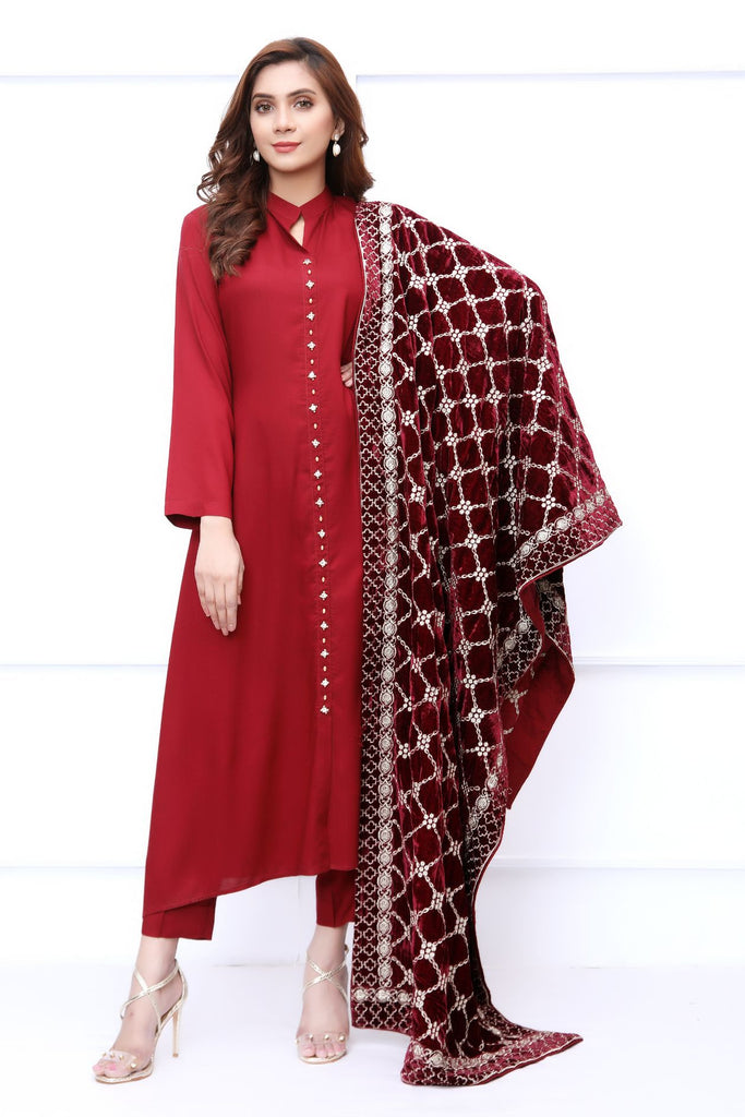 Maroon Velvet Embroidered Shawl Outfit