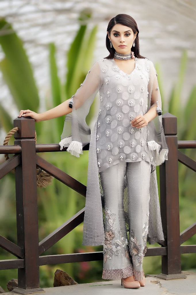 Grey Embroidered High Low Top & Embroidered Trouser Outfit