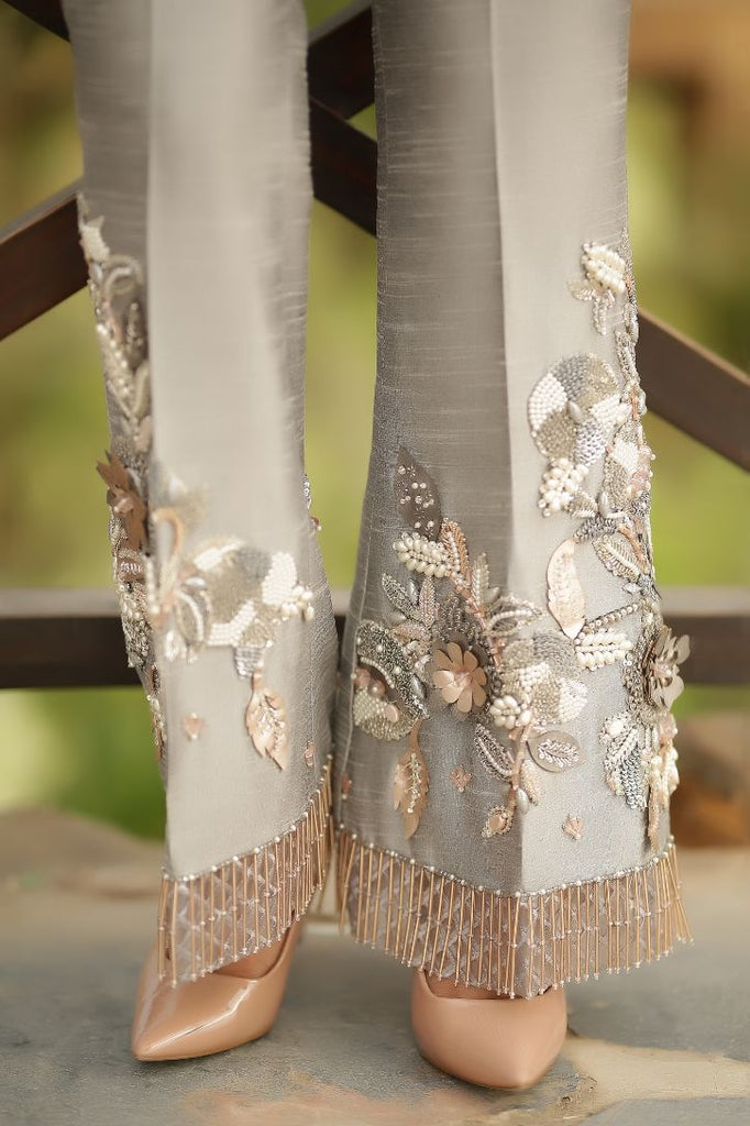 Grey 3D Embroidered & Embellished Trousers