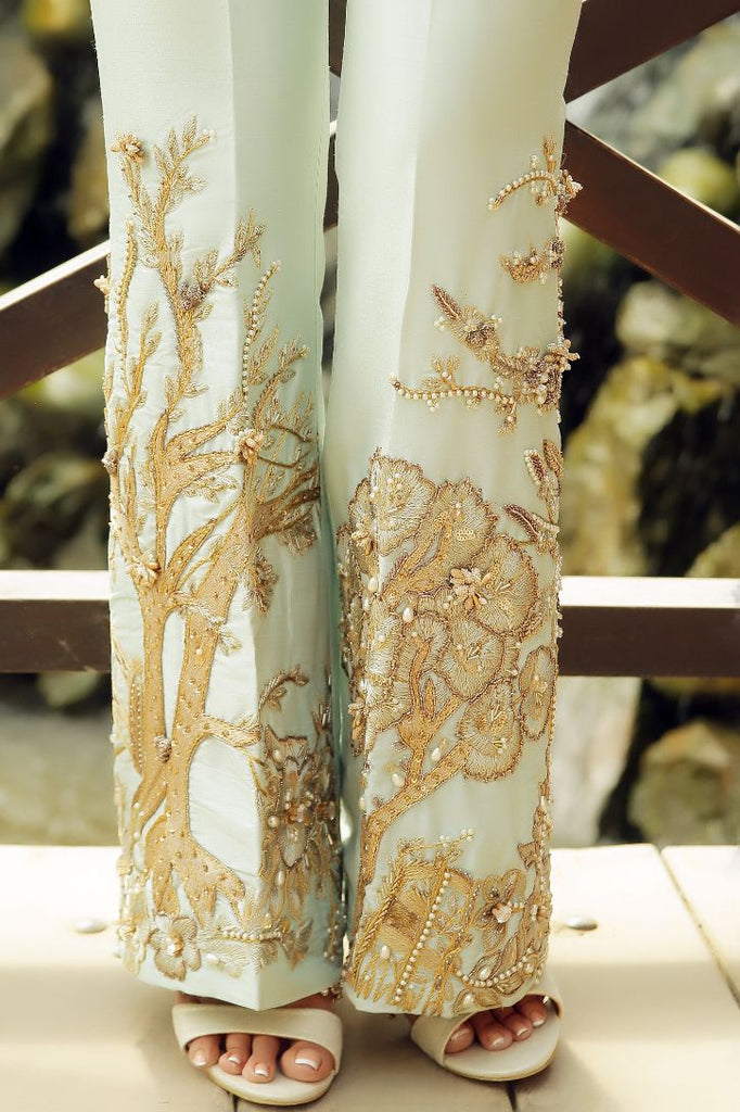 Light Green Pearl & Crystal Embroidered Trousers