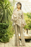Beige Embroidered Wrap & Embroidered Trouser Outfit