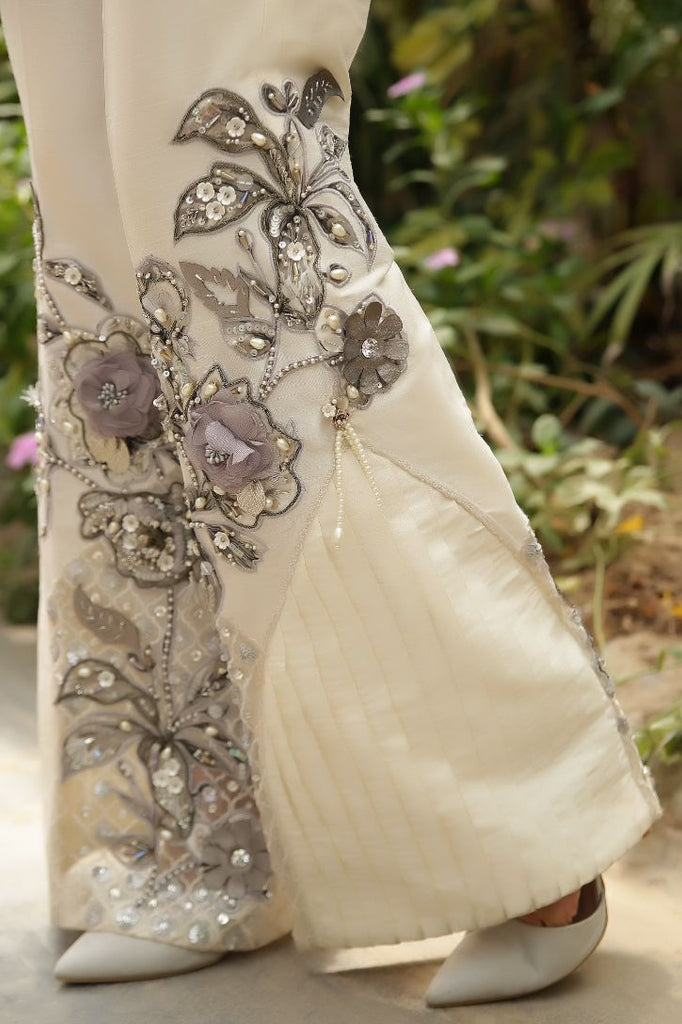 Ivory/Grey 3D Embroidered & Embellished Trousers