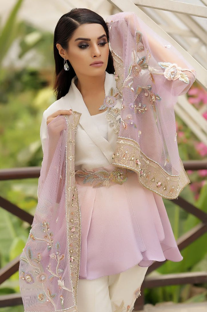 Lilac Pearl & Crystal Embroidered Peplum Top