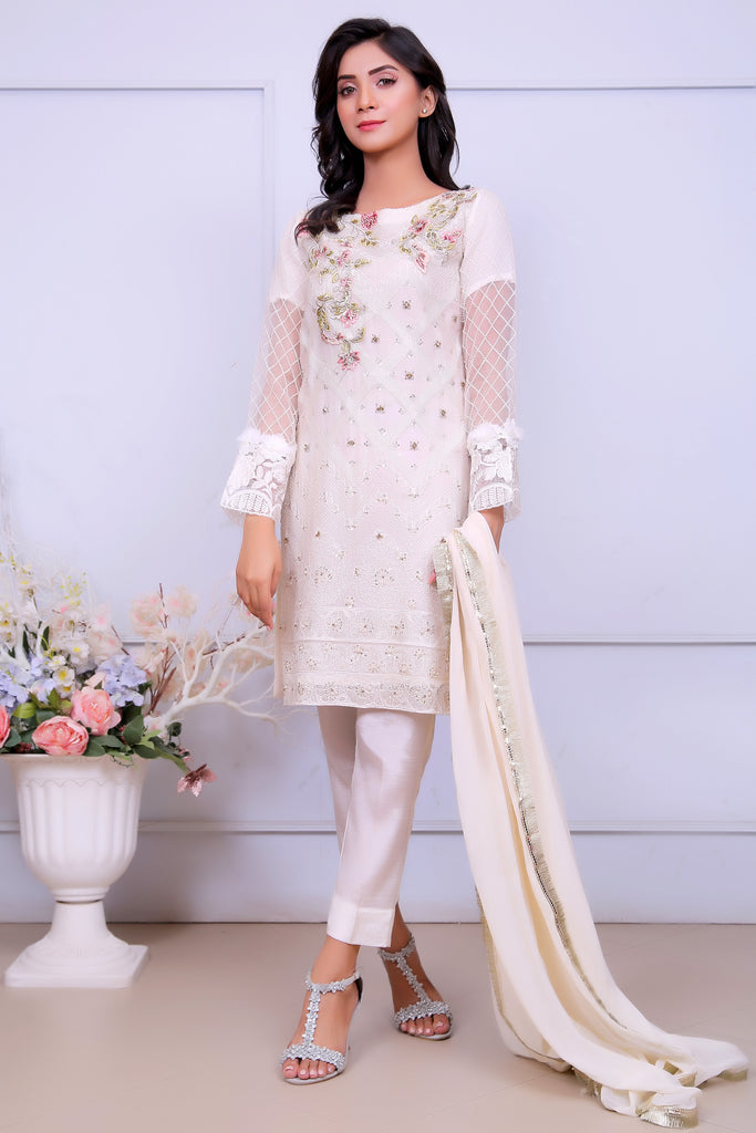 White Diamante Embroidered Outfit