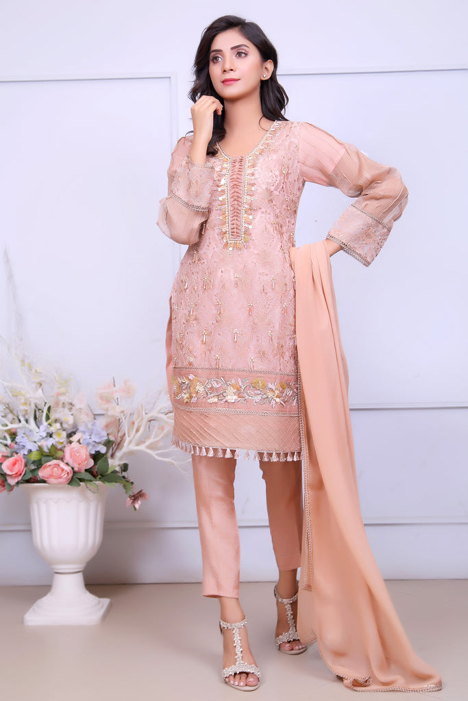 Tea Pink Diamante Embroidered Outfit