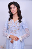 Ice Blue Diamante Embroidered Outfit - Henna Mehndi
