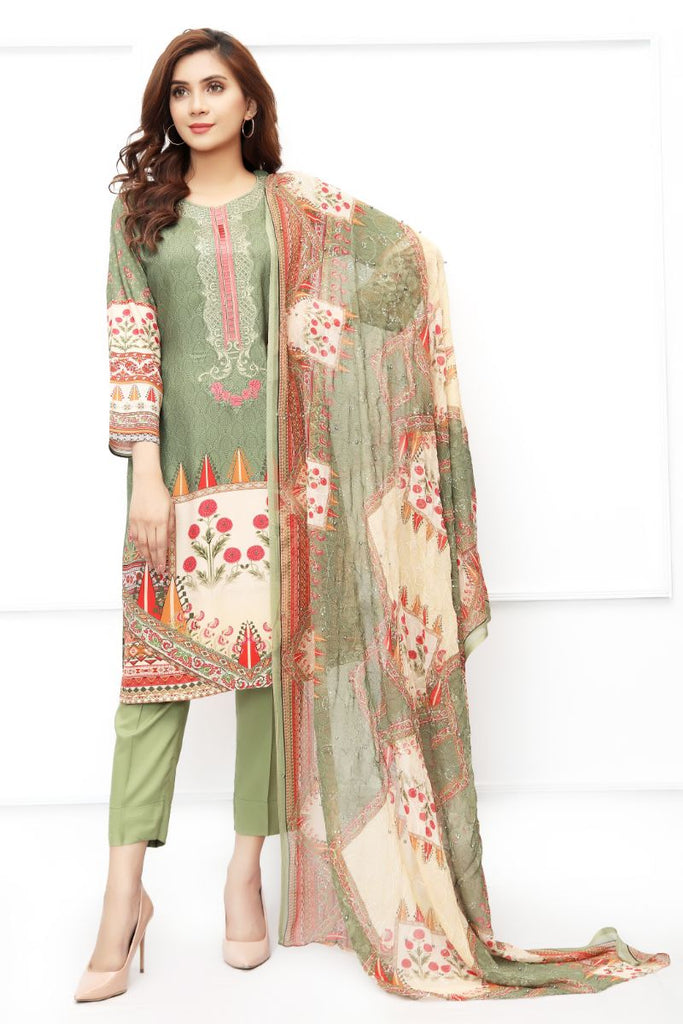 Green Embroidered & Printed Outfit