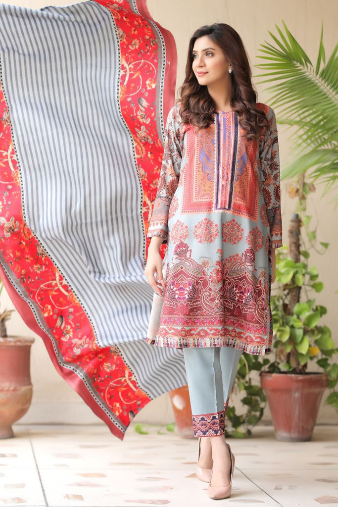 Grey Embroidered & Printed Outfit