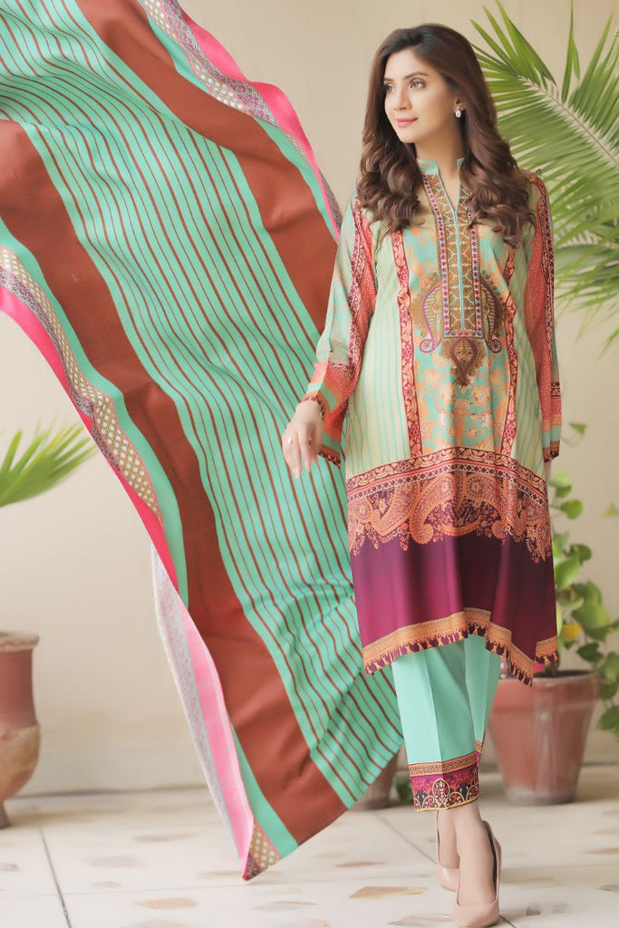 Light Green Embroidered & Printed Outfit