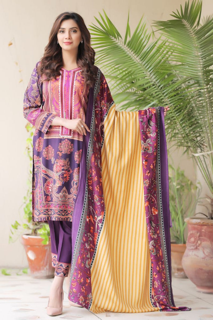 Plum Embroidered & Printed Outfit