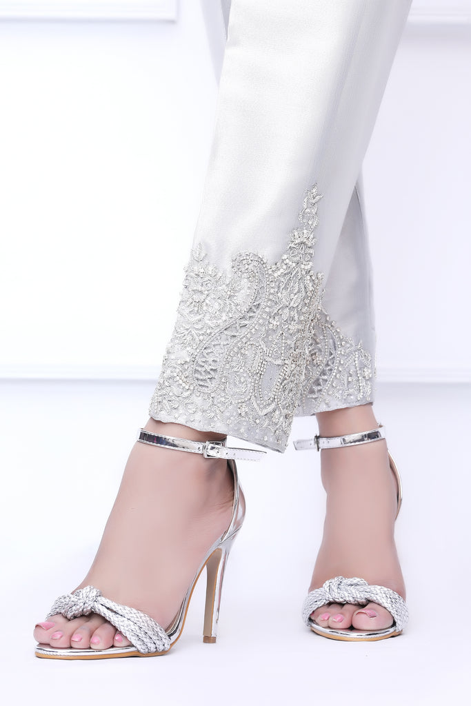 Silver Diamante Embroidered Trousers