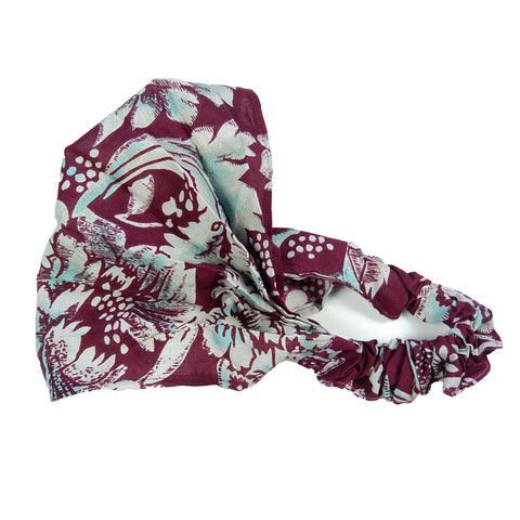 Nijens fabric hair band headband mask bandana-33 burgundy