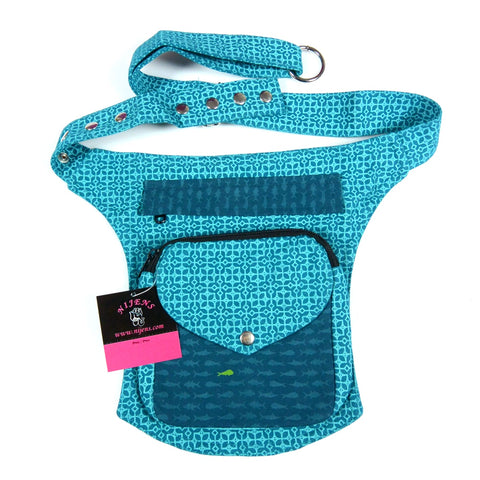 Belly bag in turquoise sky blue to carry treats and poop bags