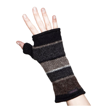 Nijens hand-knitted wrist warmers gray-brown-black