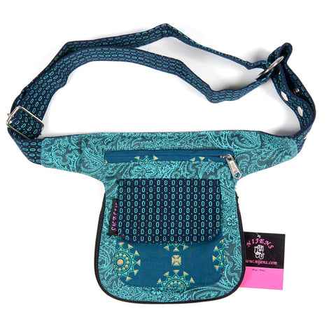 Reversible fanny pack waist pack Hip bag canvas cotton turquoise petrol photo