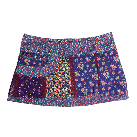 Nijens mini skirt reversible skirt cotton purple