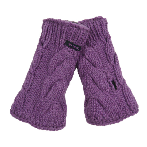 Hand-knitted Nijens wrist warmers arm warmers, new wool lavender