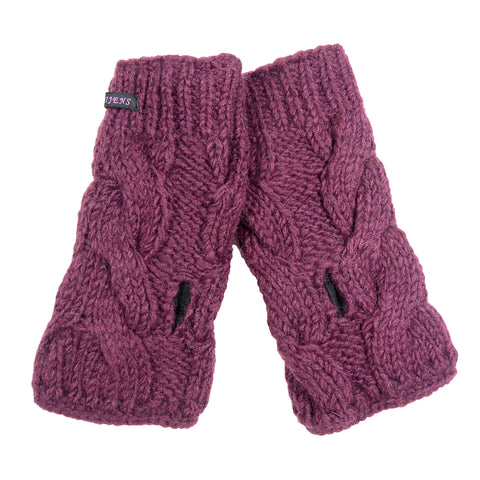 Hand-knitted Nijens wrist warmers arm warmers, virgin wool plum