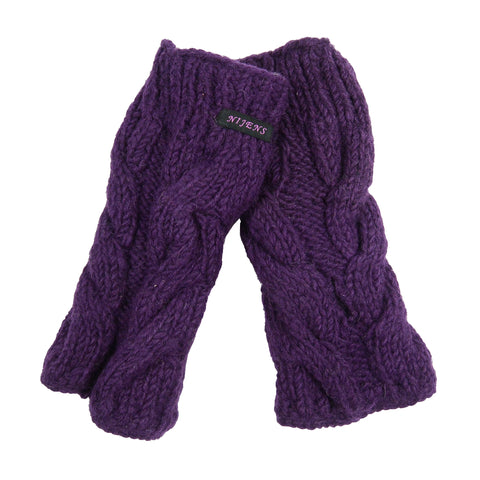 Hand-knitted Nijens wrist warmers arm warmers, new wool purple