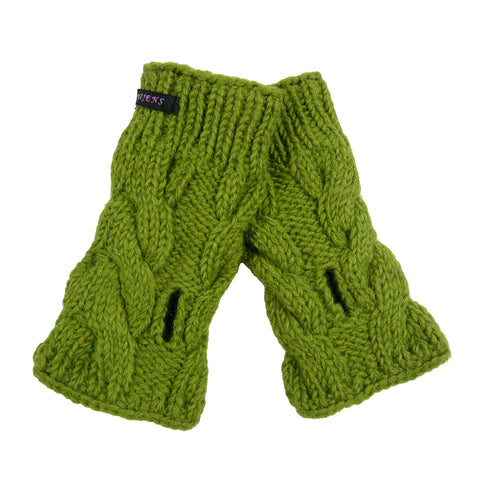 Hand knitted Nijens wrist warmers arm warmers, virgin wool olive green