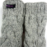 Hand-knitted Nijens wrist warmers, new wool light gray
